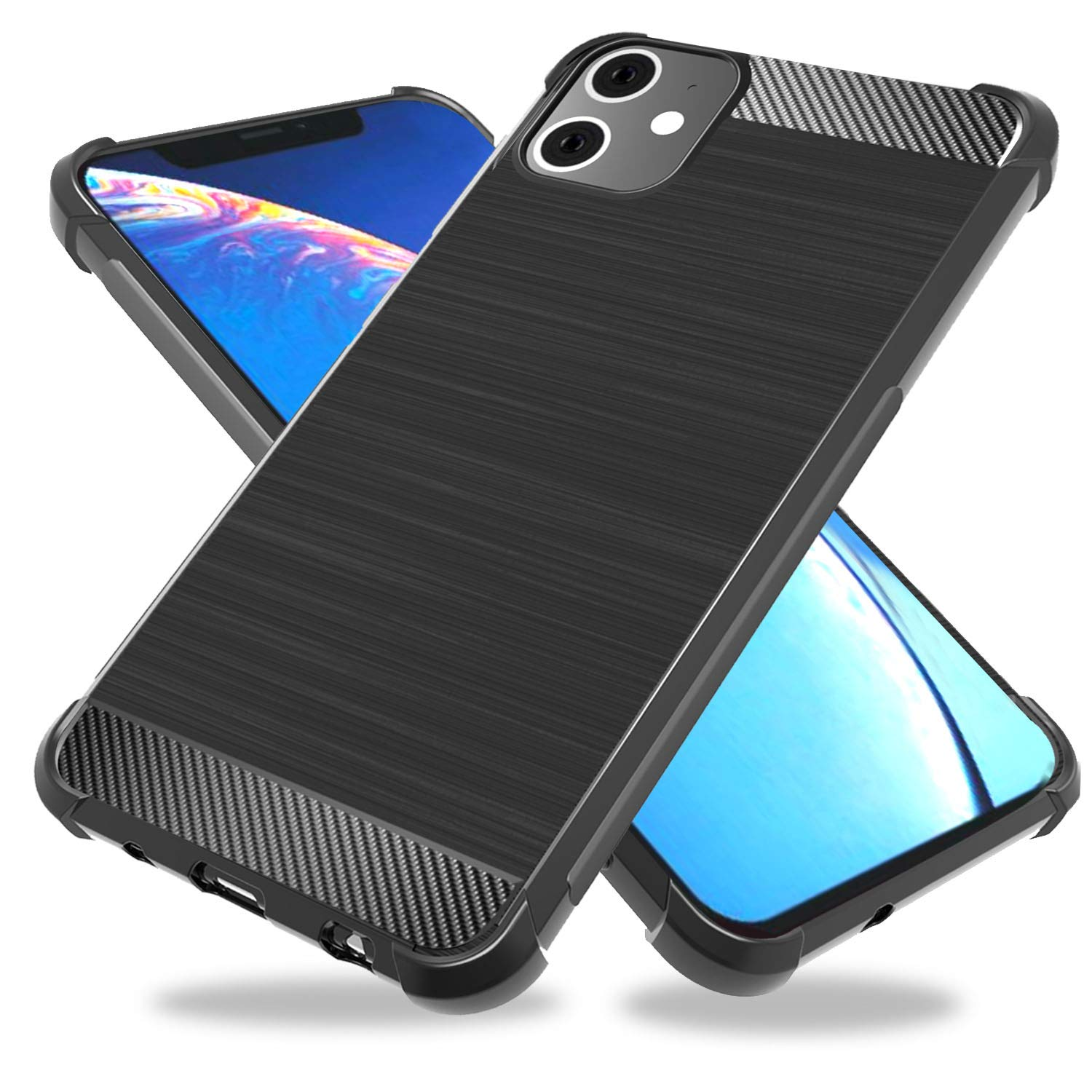 ZeKing iPhone 11 Pro 5.8'' Case, Brushed Texture Soft TPU Carbon Fiber Shock Resistant Phone case Anti-Scratch Flexible Full-Body Protective Cover for iPhone 11 Pro 5.8''(2019)(Black)