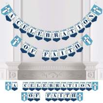 Blue Elegant Cross - Boy Religious Party Bunting Banner - Party Decorations - A Celebration of Faith