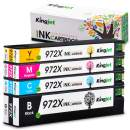 Kingjet Re-Manufactured Ink Cartridge Replacement for 972X Work with PageWide Pro 477dn, 477dw, 577dw, 577z, 552dw, 452dn, 452dw Printers, 1Set(1Black 1Cyan 1Maganta 1Yellow) Updated in May, 2019