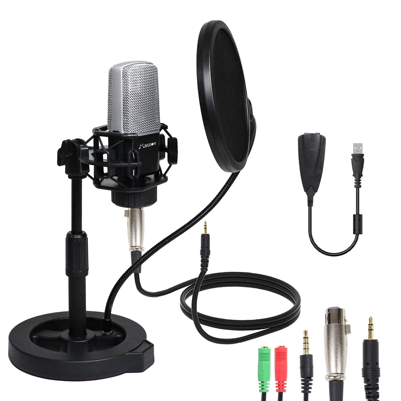 MSIZOY 3.5mm Condenser Microphone Kit,Professional Studio Condenser Mic with Shock Mount/Pop Filter/USB Sound Card for Recording,Podcasting,Gaming,etc. (3.5mm Microphone)