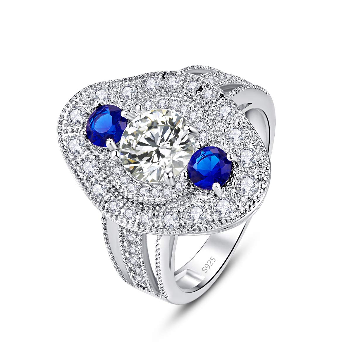 Momius 925 Sterling Silver 3-Stone Cubic Zircon 4-Prong Round Brilliant CZ Pave Halo Triple Row Band Ring for Women Girls