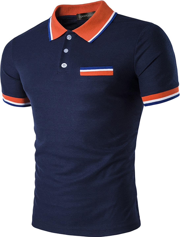 Sportides Mens Polo Shirts Contrast Collar Golf Tennis Short Sleeve Shirt Tops JZA032 Navy XS