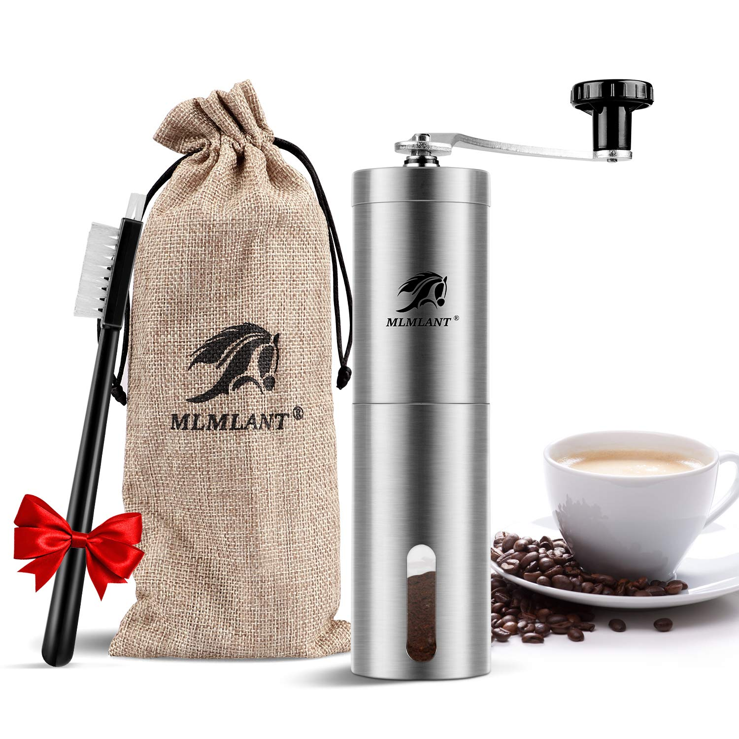 MLMLANT Manual Coffee Grinder with Adjustable Setting - Conical Burr Mill & Brushed Stainless Steel Whole Bean Burr Coffee Grinder for Aeropress, Drip Coffee, Espresso, French Press, Turkish Brew