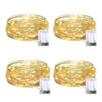 JMEXSUSS 4 Pack Fairy Lights Battery Operated, 50 LED 16.1ft Warm White Fairy Copper Wire String Lights for Christmas, Bedroom, Wedding, Party, Indoor Decoration
