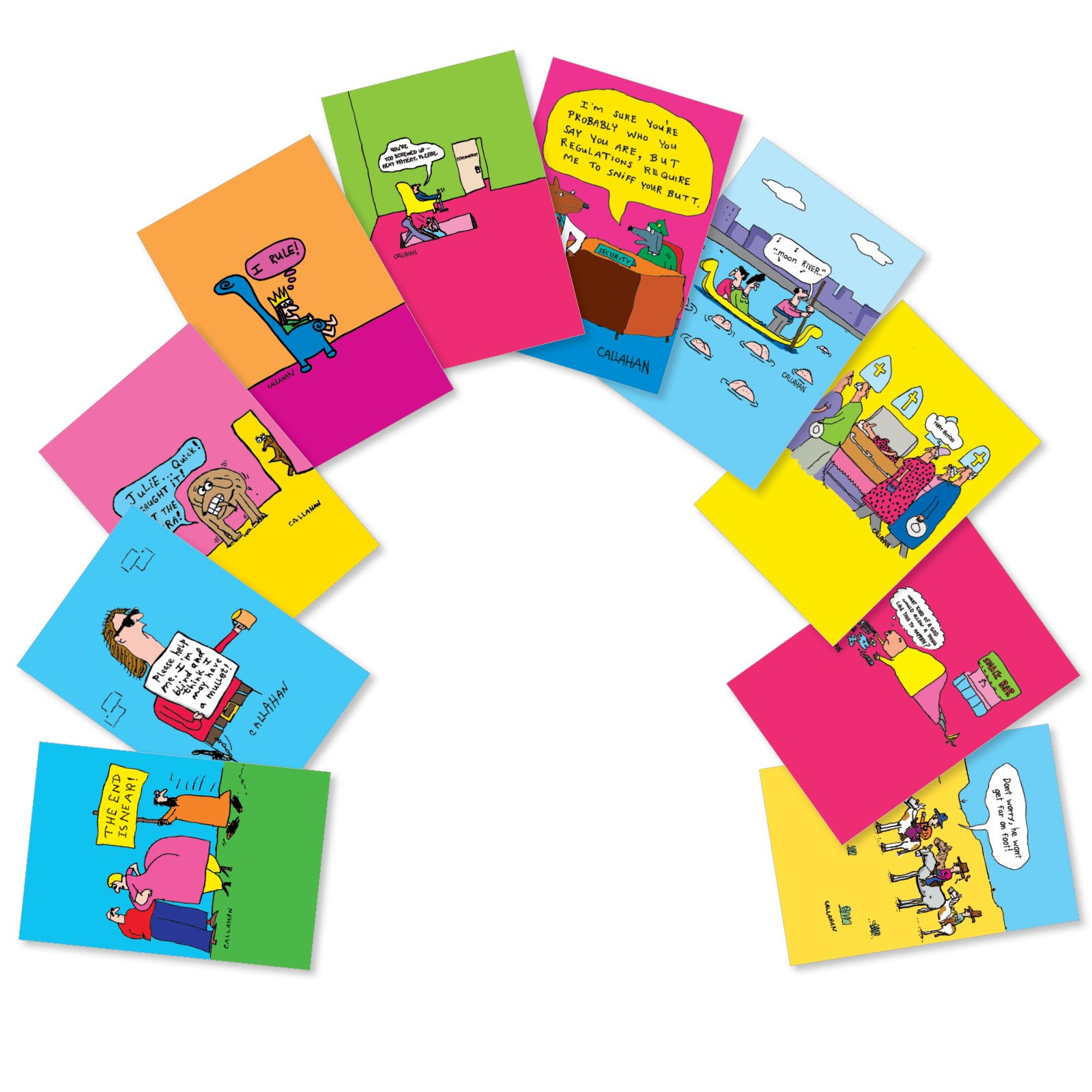 Boxed Variety of 10 He Won't Get Far on Foot Greetings - Funny Happy Birthday Cards with Envelopes - Assorted Set of Adult Humor Note Cards Bday Stationery Notecards 4.63 x 6.75 inch AC6222BDG-B1x10