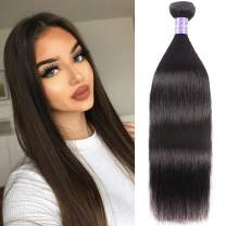 """YIROO 9A Brazilian Virgin Straight Hair Weave 1 Bundle 100% Unprocessed Brazilian Virgin Human Hair Weave Extensions Natural Color 95-100g/pc (18"""")"""