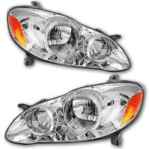 JSBOYAT For Toyota Corolla 2003-2008 Headlight Assembly Headlamps Replacement with Black/Chrome Housing Driver and Passenger Side(Chrome)