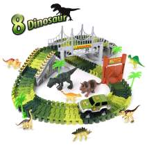 TTOUADY Christmas Dinosaur Toys Train Race Car Track Sets, Bridge Create A Road 8 Large Dinosaurs, Learning Toys for 3 4 5 6 7 8 Years Old Boys Girls Kids Toddlers