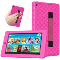 TiMOVO Case Fits All-New Fire 7 Tablet (9th Generation, 2019 Release) - Soft Kids Friendly Shockproof Silicone Cover Shell with Hand Strap Fit Amazon Fire 7 Tablet - Magenta
