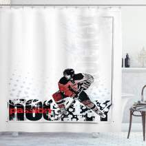 "Ambesonne Hockey Shower Curtain, Artwork of a Goalie with a Stick Playing Sports Passionate Professional Game Theme, Cloth Fabric Bathroom Decor Set with Hooks, 70"" Long, Red Black"