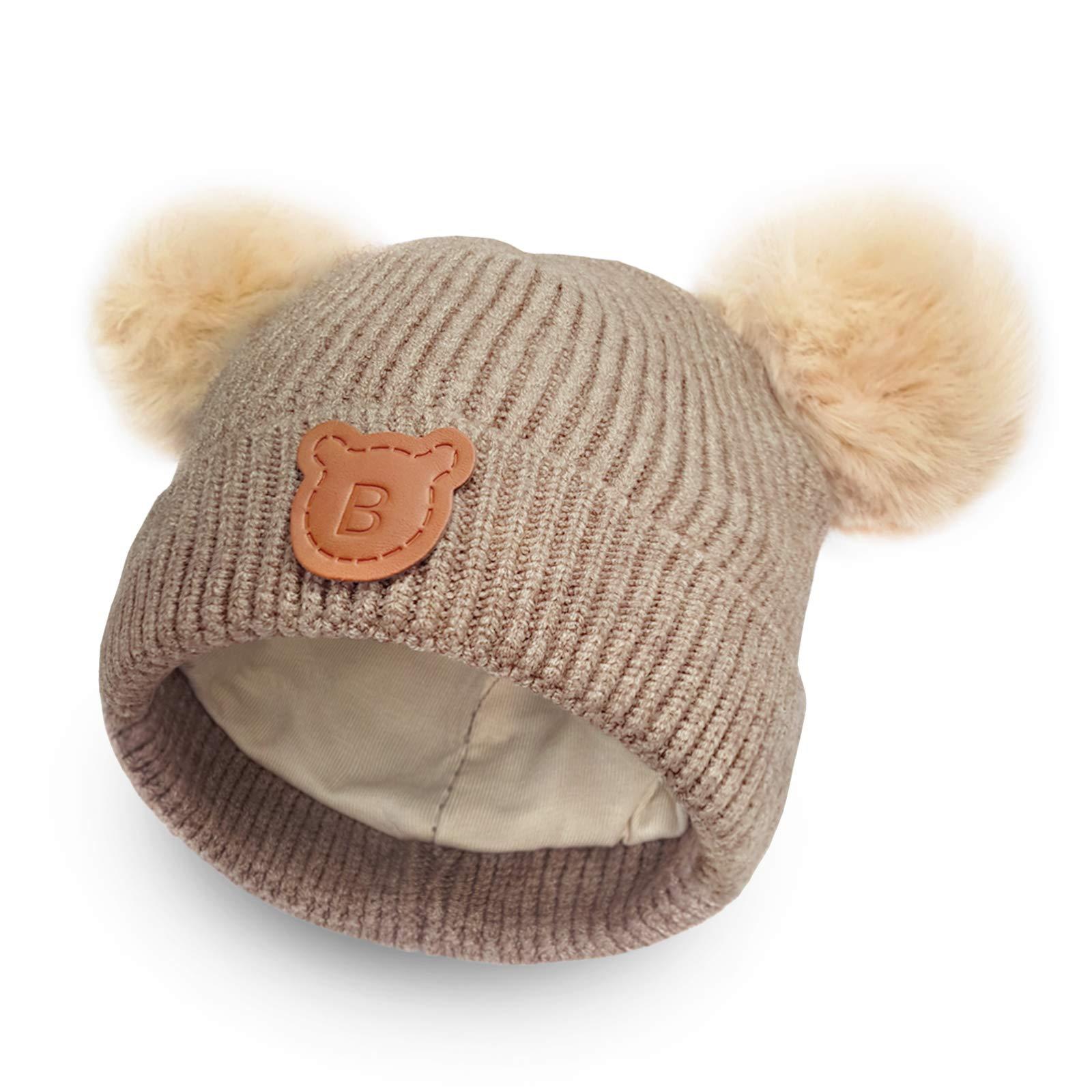Happy Tree Baby Winter Warm Knit Hat Cozy Cotton Lined Toddler Boys Girls Beanie Cap Kids Pom Pom Beanie (6m - 18m)