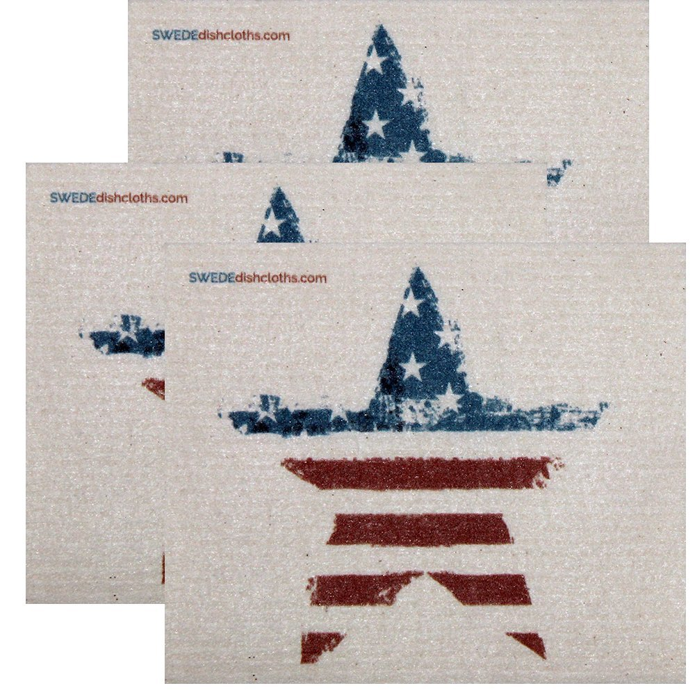 Swedish Dishcloth by SWEDEdishcloths | Set of 3 each Swedish Dishcloths American Star Design | Eco Friendly Cleaning Absorbent Cloth Eco Friendly Cleaning Wipes