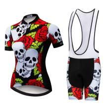Women Cycling Jersey Set Summer Short Sleeve Quick-Dry Reflective Shirt+5D Padded Shorts S-3XL