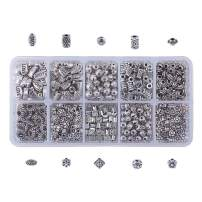 NBEADS 1 Box 500 Pcs Mixed Shape Vintage Alloy Spacer Beads, 10 Types of Tibetan Style Metal Loose Beads DIY Crafting Connector Accessories for Bracelet Necklace Jewelry Making, Antique Silver