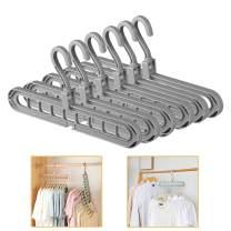 ESOUL TECHNOLOGY Pack of 6 Clothes Hangers Space Save Closet Organize Plastic Hanger Suit Pants Coat Skirt Gray