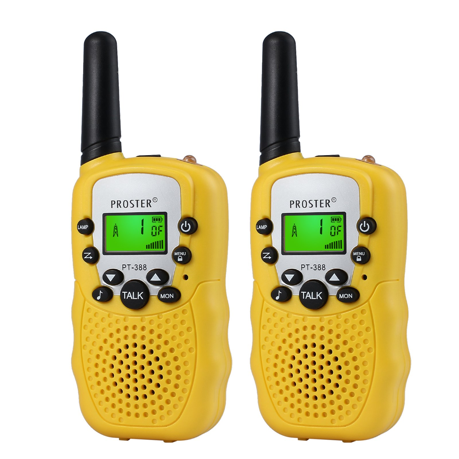 Proster Walkie Talkies New Version T-388 LCD 22 Channels Wireless Walky Talky Two-Way Radios Long Range for Supermarkets Shopping Centres Festivals(Yellow)