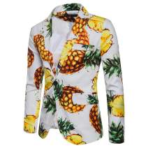 Sunhusing Men's Casual One Button Fit Suit Blazer Coat Jacket Pineapple Printed Top