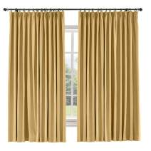 TWOPAGES 60 W x 108 L inch Pinch Pleat Blackout Curtain for Bedroom Cotton Blend Room Darkening Blackout Curtains, (1 Panel, Honey Gold)