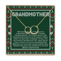Grandmother Christmas Necklace - Heartfelt Card & Jewelry Gift Set