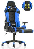 OHAHO Gaming Chair Racing Style Office Chair Adjustable Massage Lumbar Cushion Swivel Rocker Recliner Leather High Back Ergonomic Computer Desk Chair with Retractable Arms and Footrest (Black/Blue)