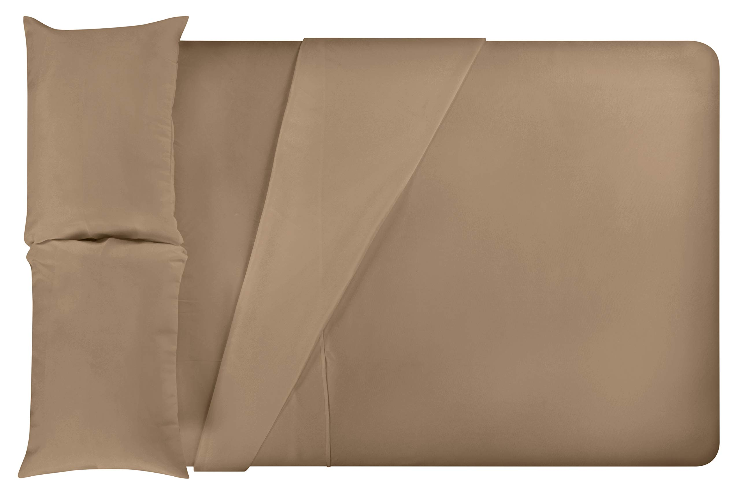 LuxClub 4 PC Microfiber and Bamboo Sheet Set: Bamboo Bedding Sheets with Microfiber - Softer and More Breathable Than Cotton - Machine Washable, Dark Khaki, Twin
