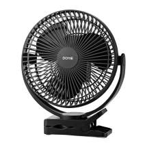 Clip-On Fan with Up to 24 Hour Use, Rechargeable Battery, 4 Wind Speeds, Domie Noise-Free Portable Fan for Outdoor, Camping, Golf Cart, Indoor Gym, Treadmill, Office Desk, and Home