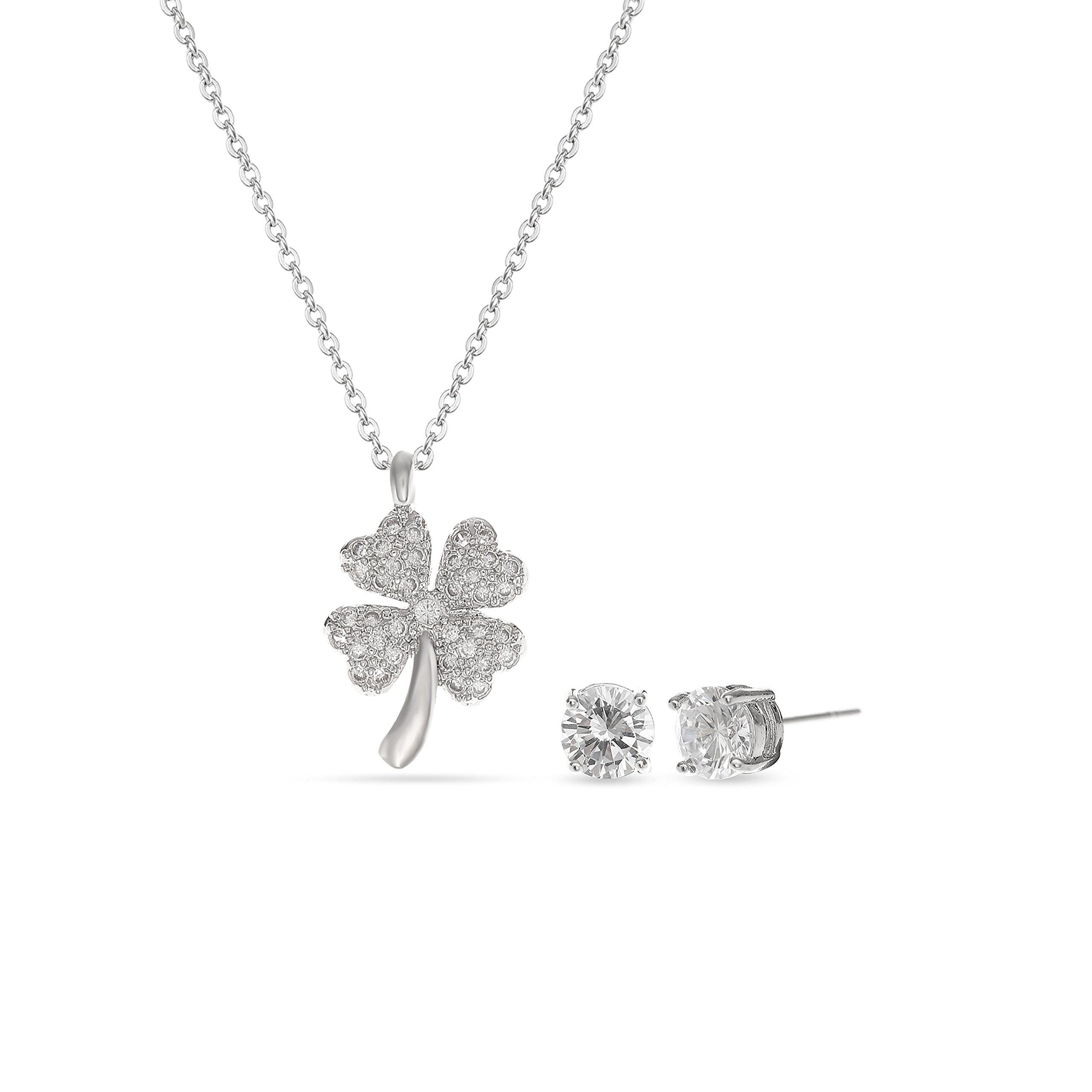 MYKEA Lucky Clover Jewelry Set - 14K White Gold Plated Four-Leaf Clover Clear Cubic Zirconia Crystal Rhinestone Stud Necklace Set for Women Girls Party Prom Vacation Holiday Everyday