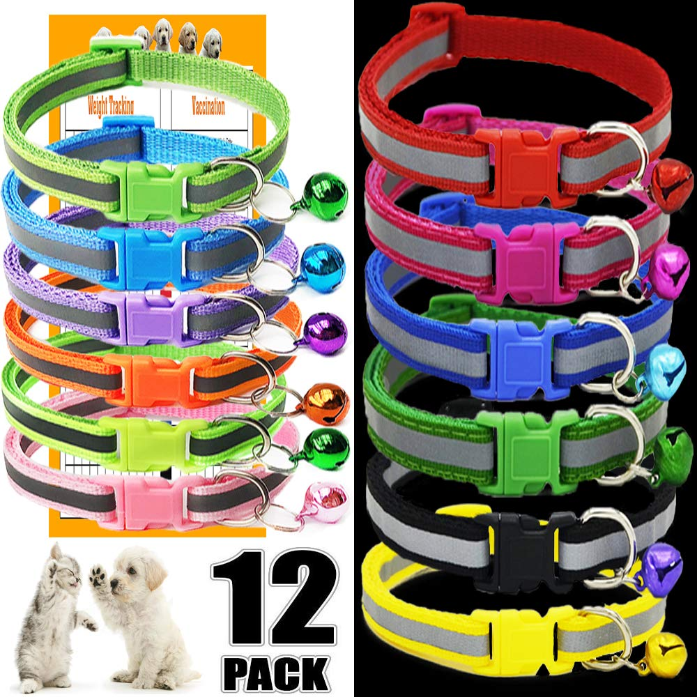 GAMUDA Puppy Collars - Super Soft Nylon Whelping Puppy Collars - Adjustable Litter Collars for Pups - Assorted Colors Reflective Plain & Identification Collars - Set of 12