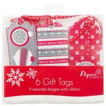 JAM Paper® Gift Tags - Red, White, & Silver Christmas Gift Tags with String - Assorted Pack - 6/pack
