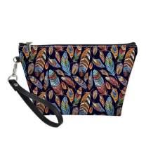Horeset Portable Women Cosmetic Bag Leather Zipper Makeup Bag Travel Purse Toiletry Pouch