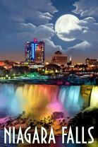 Niagara Falls, New York, American Falls at Night 51271 (16x24 SIGNED Print Master Art Print, Wall Decor Poster)