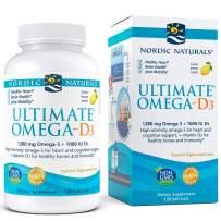 Nordic Naturals Ultimate Omega-D3, Lemon Flavor - 1280 mg Omega-3 + 1000 IU Vitamin D3 - 120 Soft Gels - Omega-3 Fish Oil - EPA & DHA - Promotes Brain, Heart, Joint, & Immune Health - 60 Servings