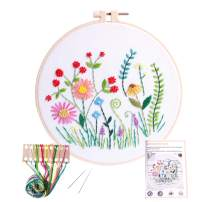 Embroidery Kits with Colorful Flower and Plant Designs; Embroidery Starter Sets with Patterns – Perfect Embroidery Beginner Kit with Hoop, Threads, Tools and Stamped Cloth