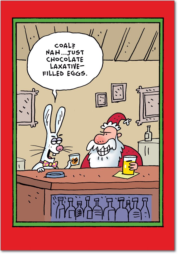 Santa Easter Bunny Laxative Eggs - 12 Funny Merry Christmas Cards with Envelopes (4.63 x 6.75 Inch) - Adult Humor, Stationery Happy Holidays Notecard Set - Santa Claus Xmas Gifts B1771