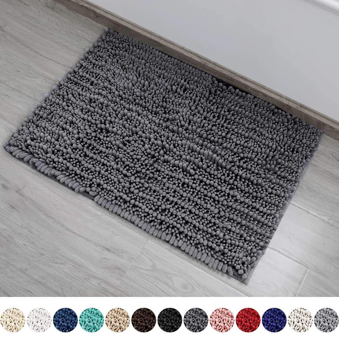 DEARTOWN Non-Slip Shaggy Bathroom Rug,Soft Microfibers Bath Mat with Water Absorbent, Machine Washable (24x39 Inches, Grey)