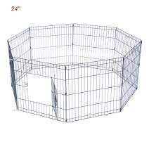 """Ryqtop Pet Playpen Foldable Exercise Pen for Dogs Cats Rabbits Pet Animals - 24 inches (24"""")"""