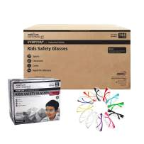 BISON LIFE Kids Protective Safety Glasses | Impact and Ballistic Resistant Lens, Clear Polycarbonate Lens Color Temple, Child Youth Size, 12 Color VARIETY, Case of 12 BOXES, 144 PAIRS