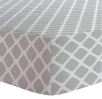 Kushies Baby Fitted Crib Sheet, Grey Lattice