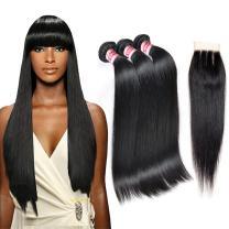 Fabeauty Hair 7A Brazilian Virgin Hair 3 Bundles With Closure Unprocessed Straight Human Hair Extensions With Lace Closure 3 Part Human Hair Weave (18 20 22 with 16)