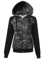 Xpril Women's Long Sleeve Military Raglan Zip Up Hoodie with Pocket