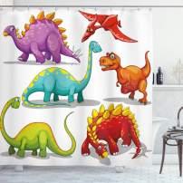"Ambesonne Dinosaur Shower Curtain, Colorful Funny Different Dino Themed Friendly Wildlife Extinct Animals Ice Age, Cloth Fabric Bathroom Decor Set with Hooks, 70"" Long, Purple Orange"