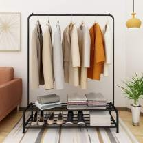 HOMERECOMMEND Metal Garment Racks Floor Clothes Rack Heavy Duty Steel Slats Holder Indoor Storage Rod Stick for Clothing(Black Color)