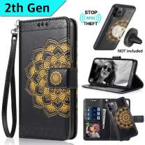 CASEOWL Wallet Case for iPhone 11 Pro 2019, Mandala Embossed Leather iPhone 11 Pro Wallet Case Magnetic Detachable Slim Case Fit Car Mount,with Card Holder,RFID Protection,Kick Stand,Strap-Black