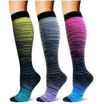 Compression Socks,(3 Pairs) Compression Sock Women and Men Best Running, Athletic Sports, Crossfit, Flight Travel
