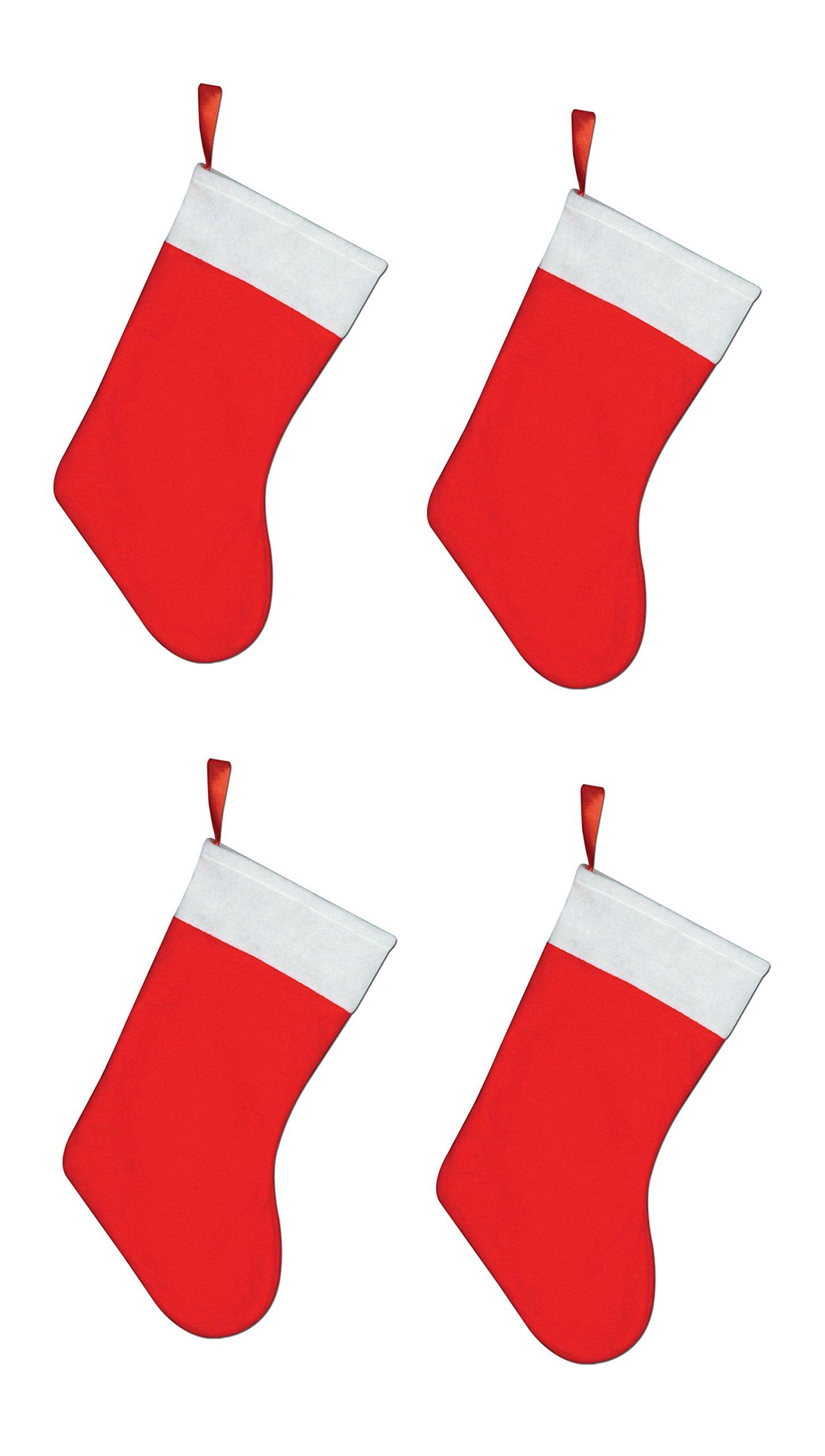 Beistle S20734AZ4, 4 Piece Felt Christmas Stockings, 15'' (Red/White)