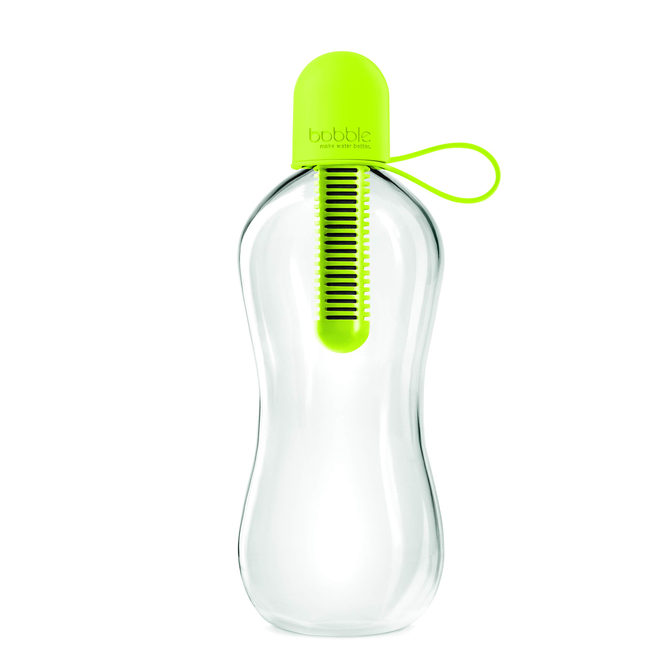 Bobble Classic, water bottle, filtered water, reusable water bottle, BPA-Free plastic bottle, soft touch carry cap, replaceable carbon filter, sustainable water bottle, hydration, 18.5 oz., Lime