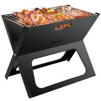 Ledeak Barbecue Charcoal Grill Folding, Portable BBQ Smoker Grill Tools Stainless Steel, Ultralight Foldable Grill Easy to Setup, Suitable for Camping Cooking Picnic Backpacking Garden Party Festival