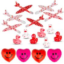 Favonir Valentines Day Party Favors 36-Pack – 12 x Adorable Mini Valentine Rubber Duckies, 12 x Foam Mini Heart Print Gliders, 12 x Foam Mini Relaxing Squeeze Hearts – Valentine's Day Toys For Kids