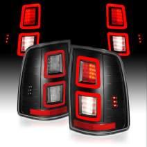 AmeriLite [Full LED] Parking Light Bar Brake Reverse Tail Lights for 2009-2018 Dodge Ram 1500 2500 3500 Pair (Black)