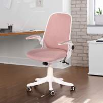 VECELO Home Office Chair with Flip-up Arms and Adjustable Height for Task/Desk Work,Coral Pink Fabric